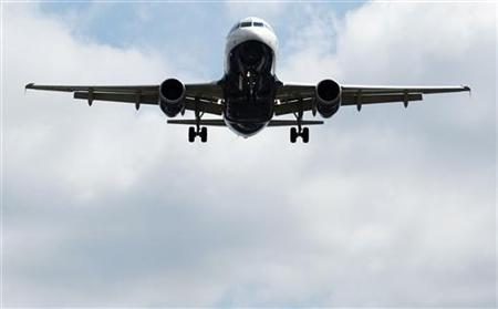 A British Airways airplane comes in to land at Heathrow Airport in west London