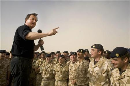 Prime Minister Cameron speaks to British forces at Camp Bastion in Helmand Province