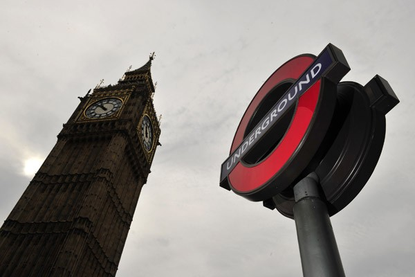 A London Underground sign is seen near the Houses of Parliament in central London