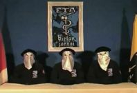 A framegrab taken from footage released September 5, 2010, shows members of Basque separatists ETA declaring a ceasefire at an unknown location.