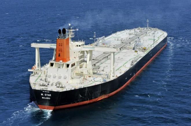 An oil tanker sails.