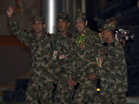FARC Columbian rebels release soldier & police hostages