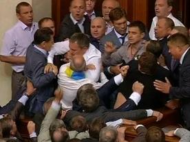 Parliamentary punch-up between lawmakers in Ukraine