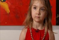 Five year old artist displays work  in New York