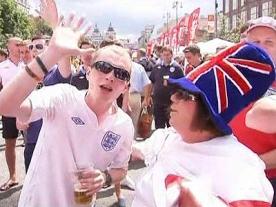England and Sweden fans in Ukraine