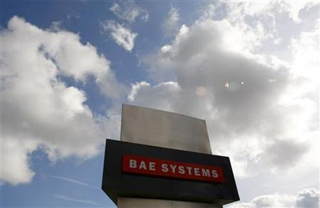 A BAE systems sign is seen outside the company's Warton site near Preston