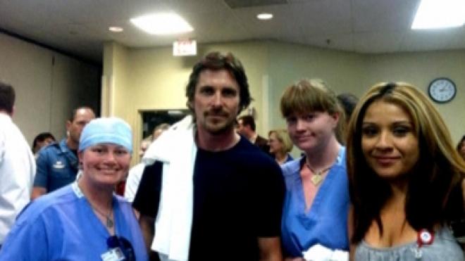 Actor, Christian Bale visits Batman shooting survivors