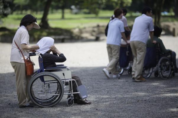 Elderly people visit a public garden in Tokyo