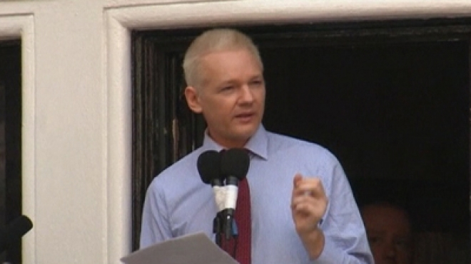 Julian Assange Makes Speech at Ecuador Embassy