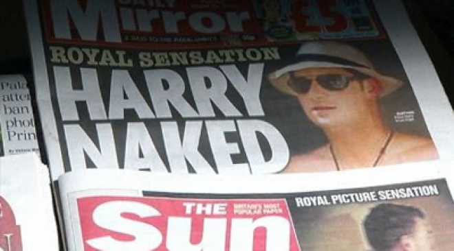 The Sun publishes naked Prince Harry photos