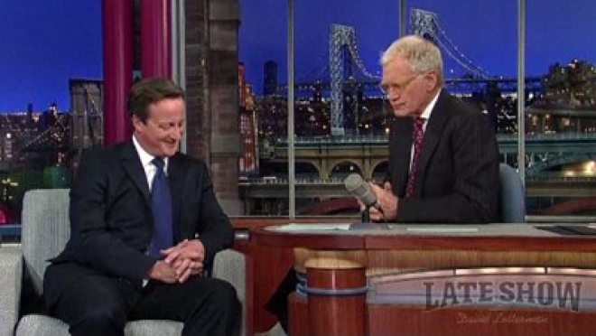 Cameron takes part in pub quiz on Letterman Show