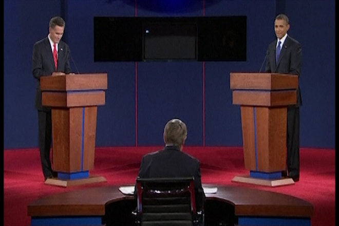Obama and Romney clash over economy in first debate