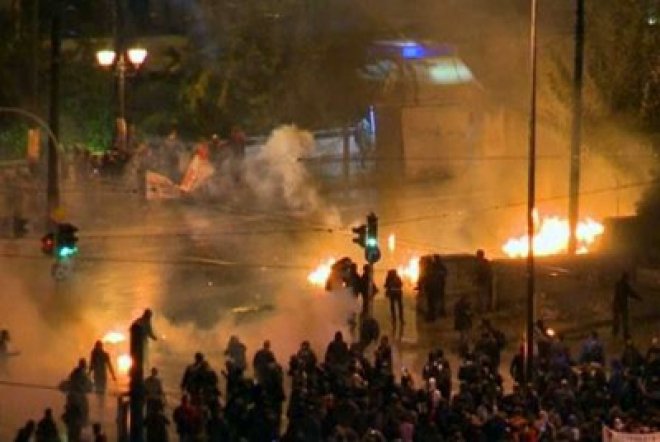 Greek police and protestors clash on streets of Athens