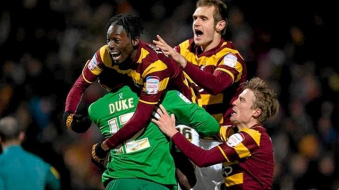 Bradford stun Arsenal to reach League Cup Semi Final