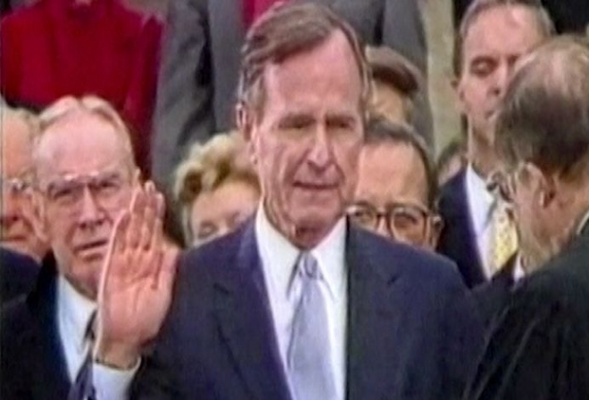 Former US President George H W Bush in intensive care