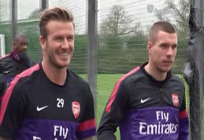 David Beckham trains with Arsenal