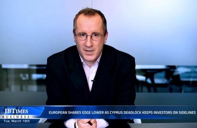 European shares edge lower as Cyprus deadlock keeps investors on sidelines