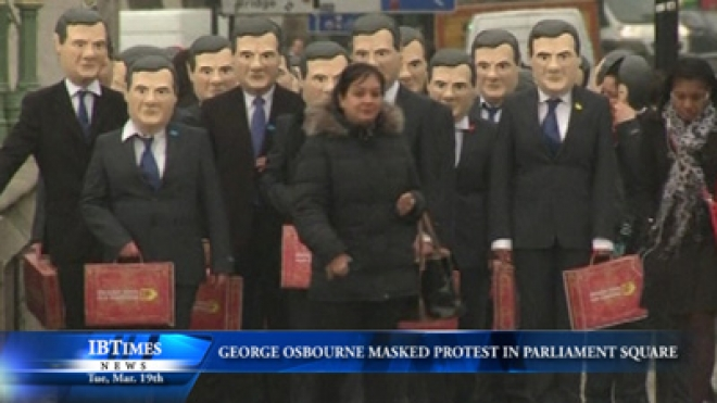George Osborne Mask Protest Demands UK Tackle Tax Avoidance And Global Hunger