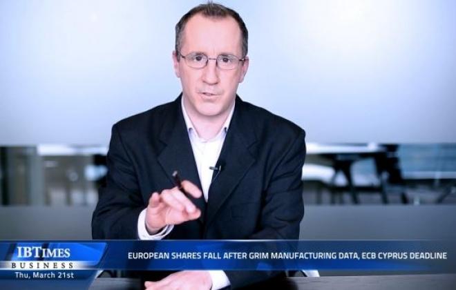 European shares fall after grim manufacturing data, ECB Cyprus deadline