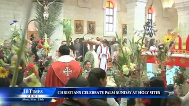 Christians Celebrate Palm Sunday At The Holy Sites Of Jesus Birth, Burial