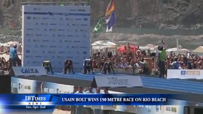 Usain Bolt Wins 150 Metre Race On Rio Beach