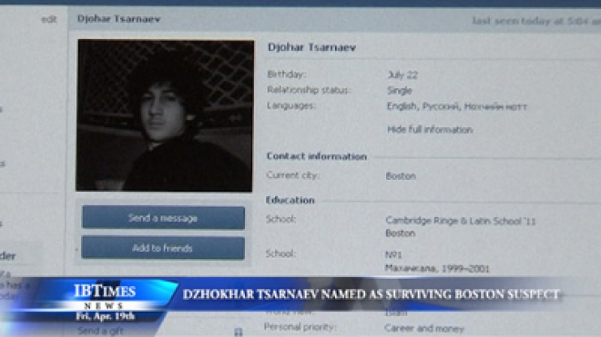 Dzhokhar Tsarnaev Named as Surviving Boston Marathon Suspect