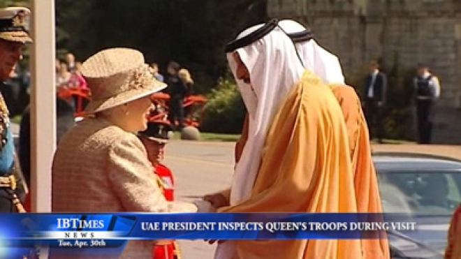 UAE President Inspects Queens Troops During State Visit