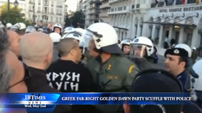 Members Of Greek Far Right Golden Dawn Party Scuffle With Police