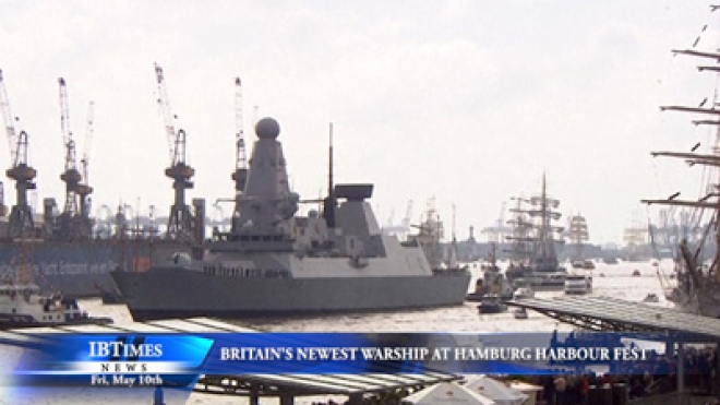 New British Warship In Hamburg Harbour Festival