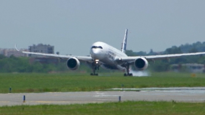 Airbus A350 Aircraft Lands After Maiden Flight