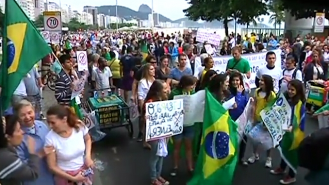 Demonstraters On Brazil Beach Protest New Law