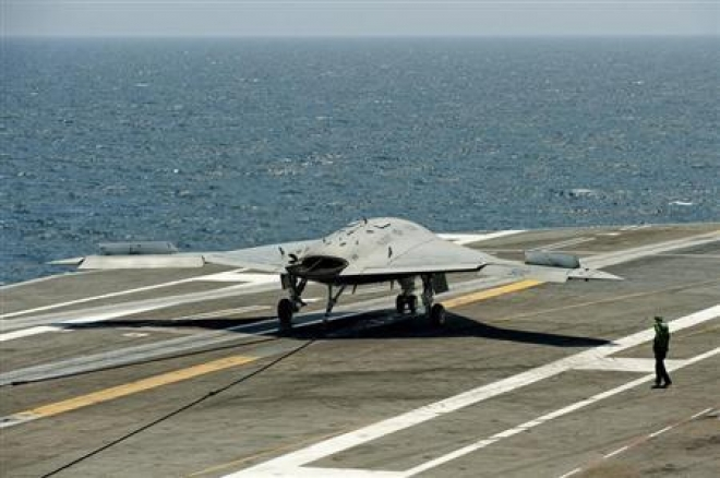 US Navy Lands Unmanned Jet on Aircraft Carrier