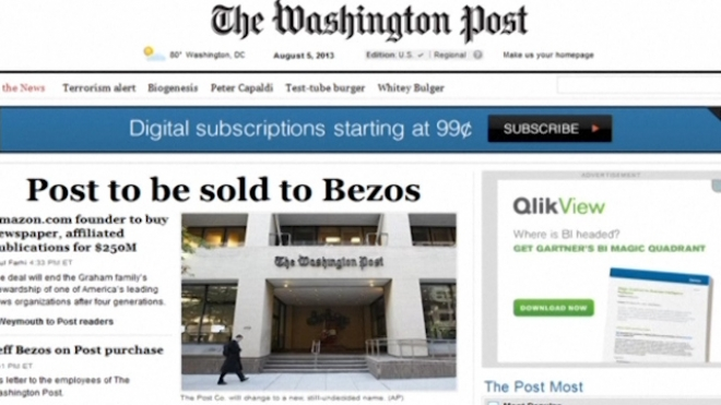 Amazon Founder To Buy The Washington Post
