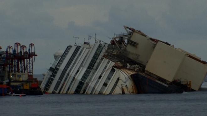 Salvage Workers Begin Costa Concordia Parbuckling