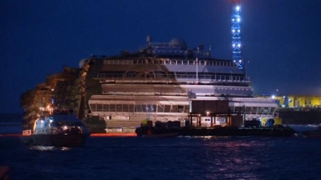Dawn Breaks Over Upright Costa Concordia