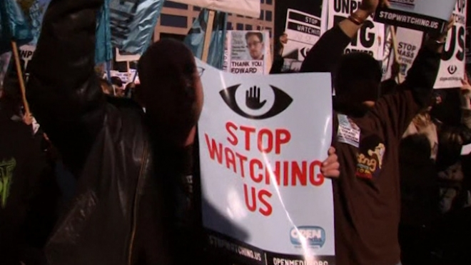 Hundreds March In Washington Against NSA Spying
