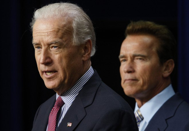 U.S. Vice President Biden and speaks alongside California Governor Schwarzenegger in Washington