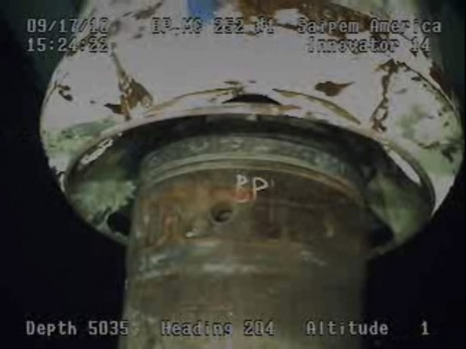 Part of the containment capping stack is captured from a BP live video feed from the Gulf of Mexico, September 17, 2010.