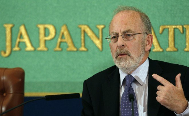 Ireland's Central Bank Governor Patrick Honohan speaks at a news conference in Tokyo