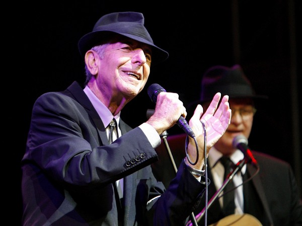 Canadian singer-songwriter Leonard Cohen performs at the Coachella Music Festival in Indio