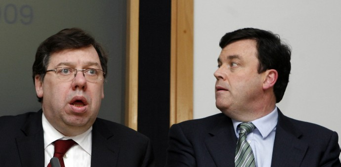 Ireland's Prime Minister Brian Cowen and Minister of Finance Brian Lenihan attend a news conference - file photo.