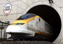 A high-speed Eurostar train leaves the Channel tunnel near the Eurotunnel terminal of Coquelles near Calais, northern France