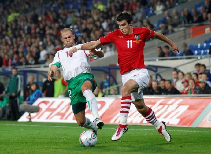 Bulgaria's Georgi Peev during their Euro 2012 qualifying soccer match in Cardiff, Wales.