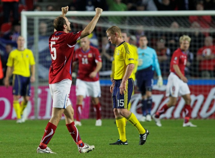 Czech Republic's Hubnik celebrates his team's 1-0 victory over Scotland in their Euro 2012 qualifying soccer match in Prague