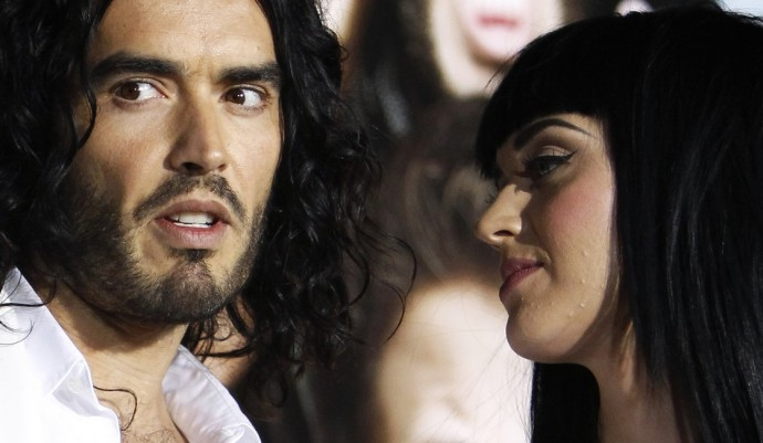 "Cast member Russell Brand and his girlfriend singer Katy Perry attend the premiere of ""Get Him to the Greek"" at the Greek theatre in Los Angeles May 25, 2010."
