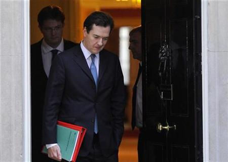 Britain's Finance Minister Osborne and Chief Secretary to the Treasury Alexander leave Downing Street in London