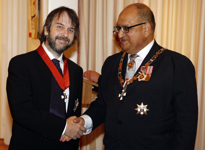 Director Jackson of New Zealand shakes hands with New Zealand's Governor-General Satyanand after being knighted in April, 2010