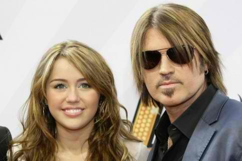 Miley Cyrus with father Billy Ray Cyrus