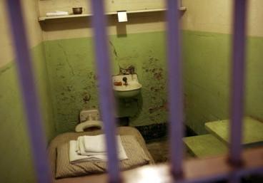 "A prison cell along cell block ""B"" is shown at Alcatraz Island in San Francisco Bay in San Francisco, California"