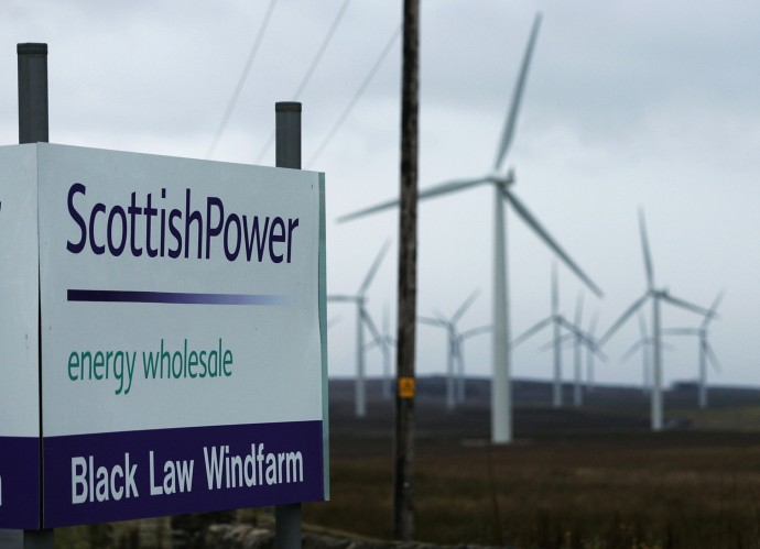 A general view shows the main entrance to the Scottish Power owned Black Law wind farm in Lanarkshire